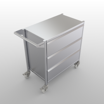 Stainless steel clean room cart with drawers