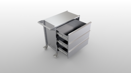 Stainless steel clean room cart with drawers opened