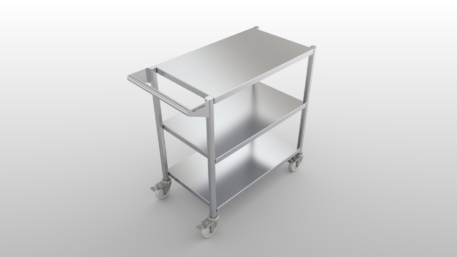 Stainless steel clean room cart with three flat shelves