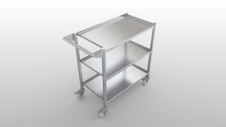 Stainless steel clean room cart with three shelves with ledges